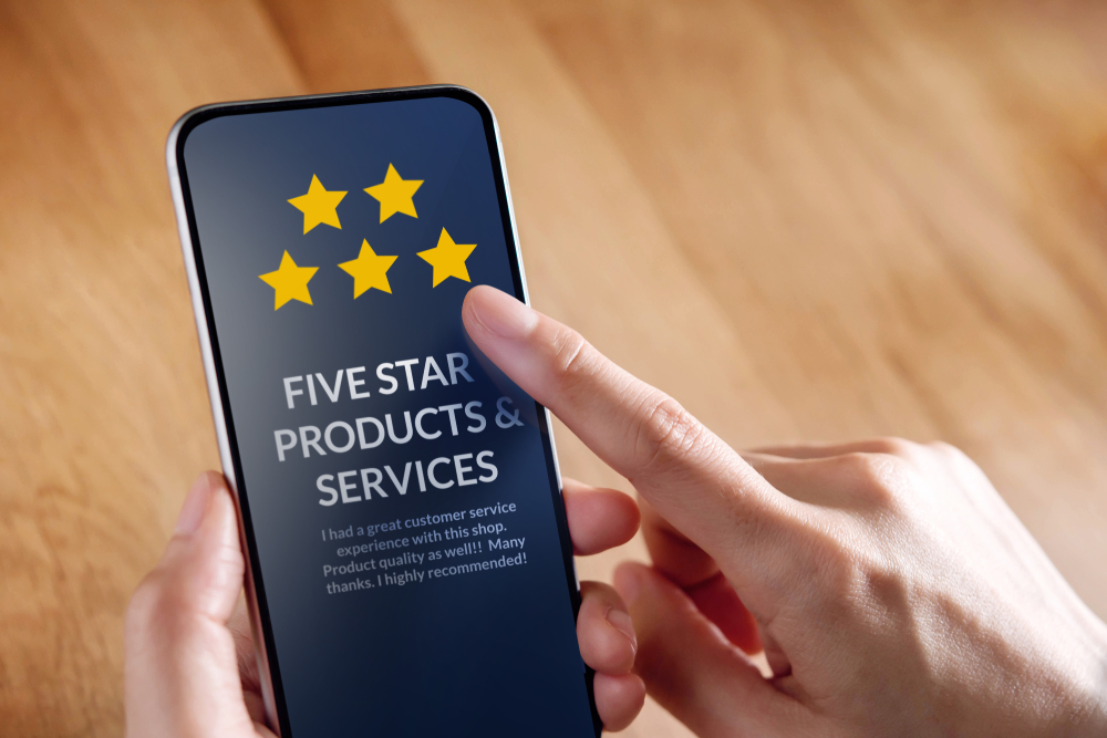 A mobile device screen displaying 5 star products and servics