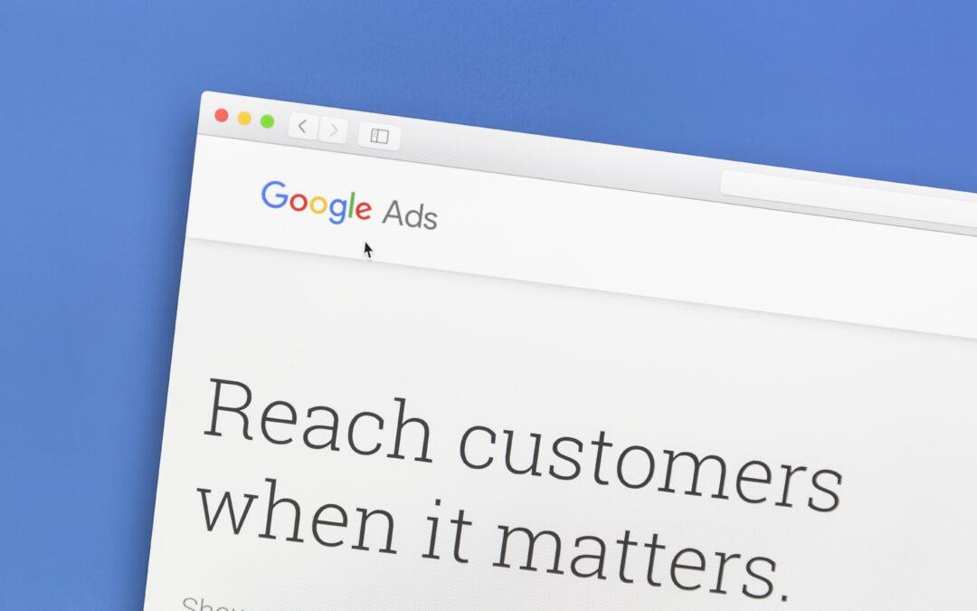 Google Ads website on a computer screen. Google Ads is an online advertising service.